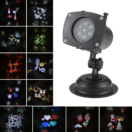 Christmas Projector Lights-12 Pattern Waterproof Outdoor Projection Lights Garden Lamp Lighting for Christmas Halloween Holiday Party Valentine's Day Birthday](Halloween Hologram Projector)