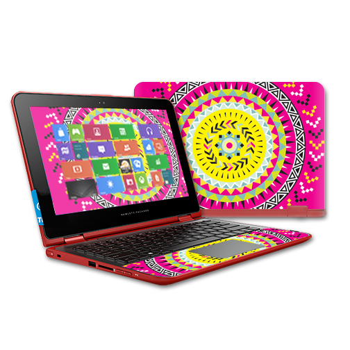 MightySkins Protective Vinyl Skin Decal for HP Pavilion x360 11t Touch Laptop case wrap cover sticker skins Pink Aztec