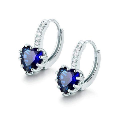 CLEARANCE - Heart Shaped Midnight Blue Diamond CZ Solitaire Hoop Earrings White Gold
