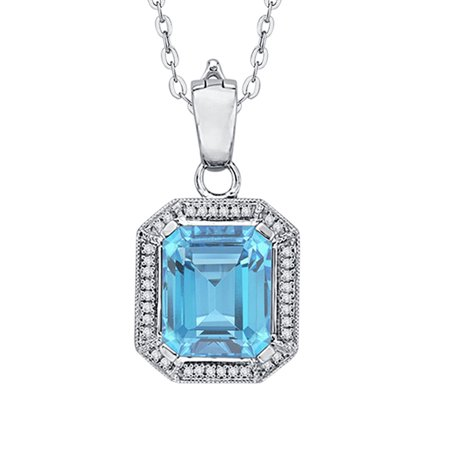 - Prong Set Diamond and Emerald Cut Blue Topaz Pendant Necklace in 14K White Gold (4 1/3 cttw, G-H, I2-I3)