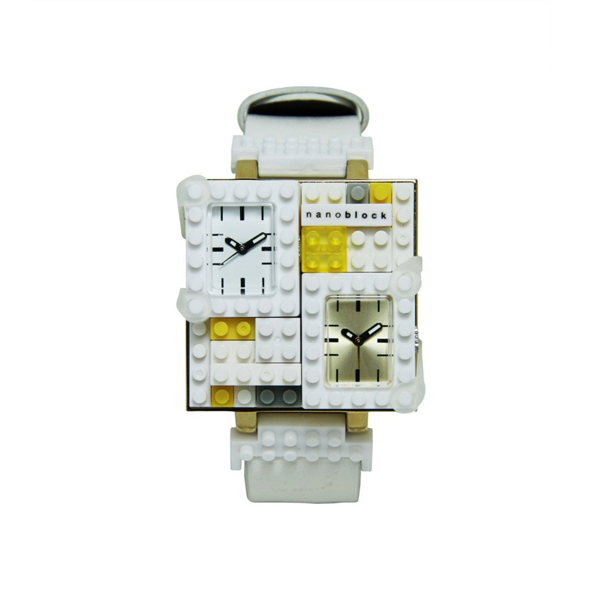 Nanoblocktime Traveler Metal Watch, White and Gold by Beta Enteprises Inc.