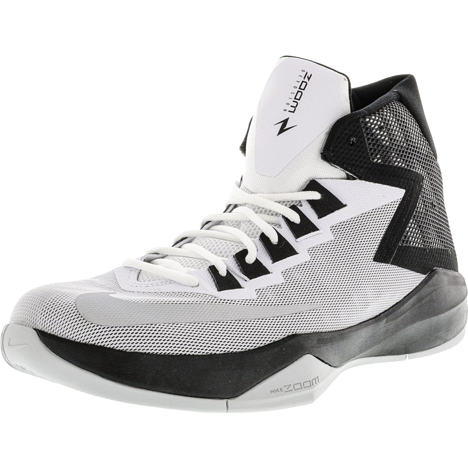 the latest 0bbfa 85244 ... release date nike nike mens zoom devosion white metallic silver black  high top basketball shoe 12m