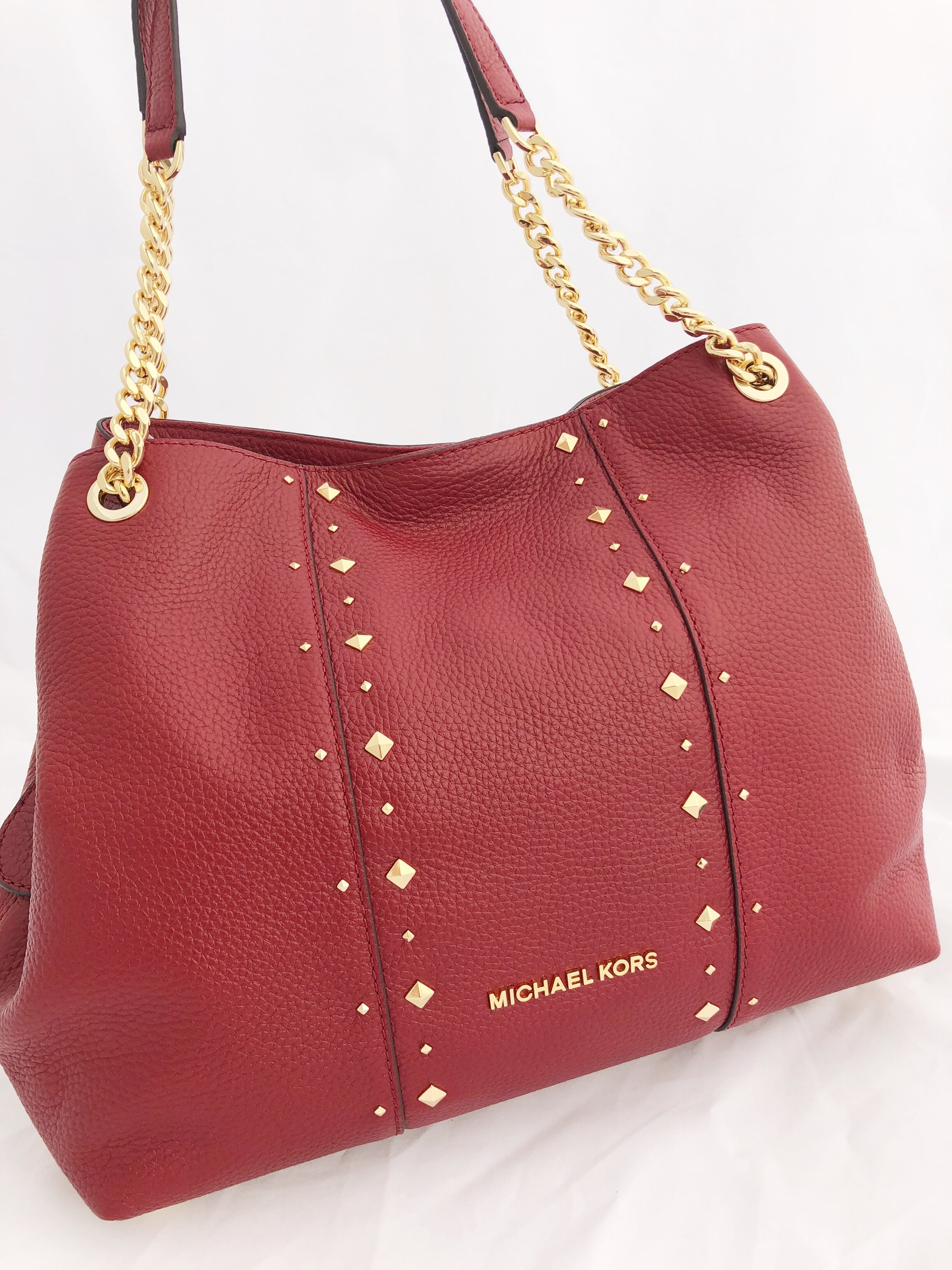d697b7372204 Michael Kors - Michael Kors Jet Set Large Chain Shoulder Bag Hobo Tote  Leather Cherry Red Stud - Walmart.com