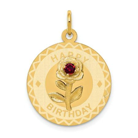 14k Happy Birthday Disc Charm with CZ Flower in 14k Yellow Gold