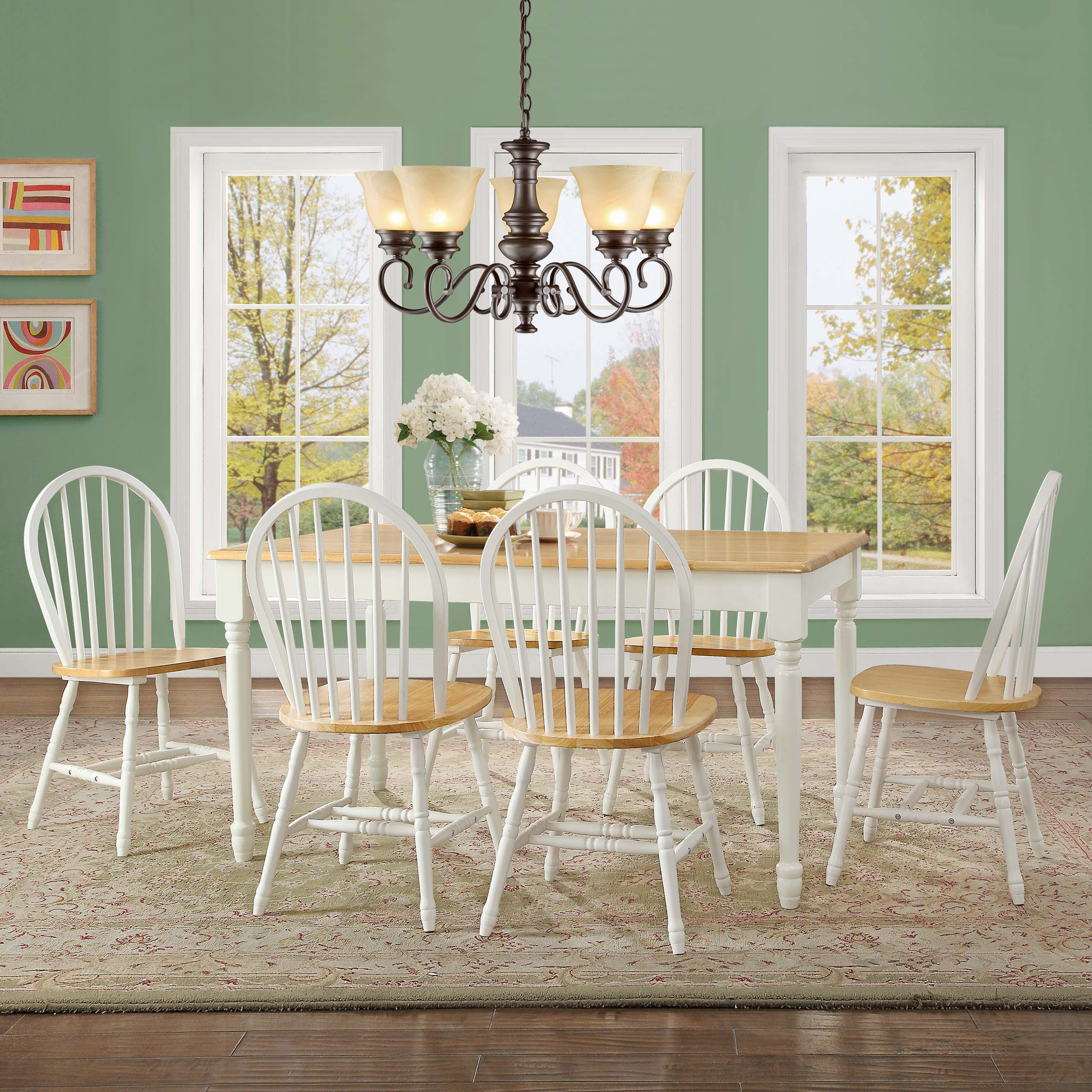 Better Homes and Gardens Autumn Lane 7-Piece Dining Set, White and Natural