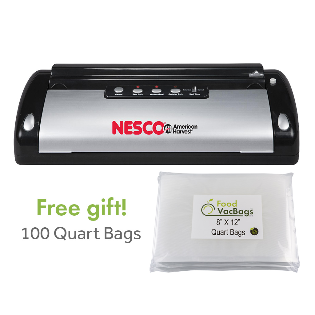 Combo - Nesco Sealer VS-02 PLUS 100 Foodsaver Compatible Quart Vacuum Sealer Bags