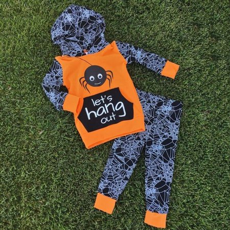 Toddler Kids Baby Boy Halloween Autumn Clothes Spider Hooded Tops Long Pants