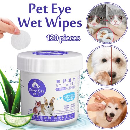 Grooming Wipes - 120 Pieces Pet Eye Wet Wipes Dog Cat Tear Stain Remover Pet Eye Grooming Wipes