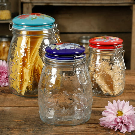 The Pioneer Woman Floral Embossed Clamp Jars, Set of 3