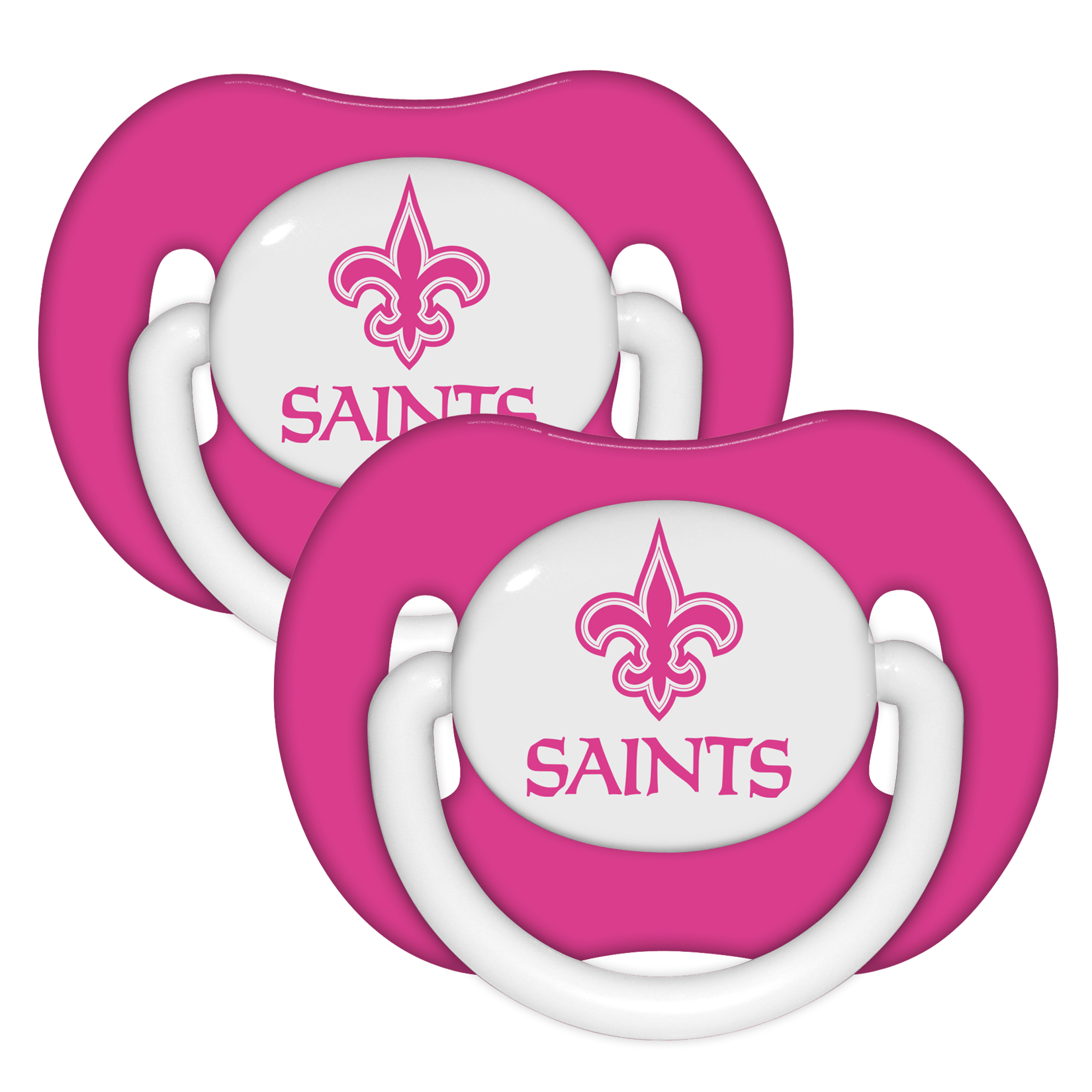 NFL Licensed New Orleans Saints Logo Baby Pacifier in Teams Colors 2 pack