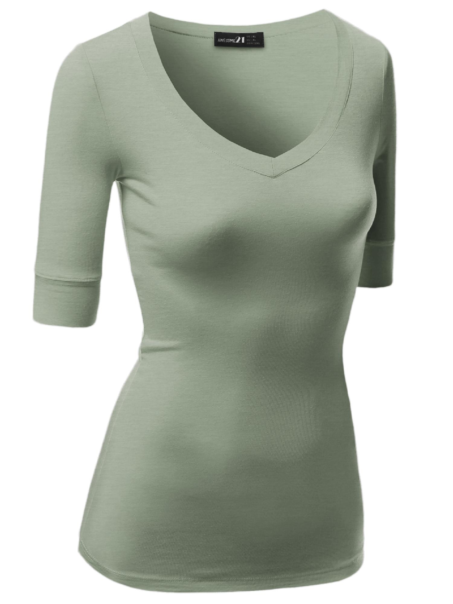FashionOutfit Women's Basic Solid Arm Sleeve V Neck T-shirt Tops