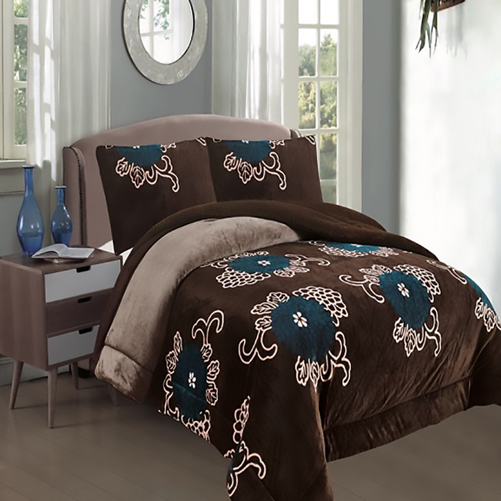 All American Collection New Super Soft and Warm 3 Piece Borrego/ Sherpa Blanket Queen/ King Size