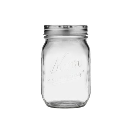 Robo Jam - Kerr Glass Mason Jars w/ Lids & Bands, Regular Mouth, 16 Ounces, 12 Count