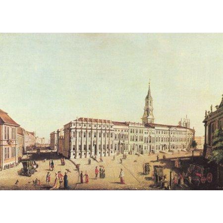 Framed Art for Your Wall Meyer, Johann Friedrich - Potsdam, Castle Street and Fiakerplatz 10 x 13 (Myer Market Street)