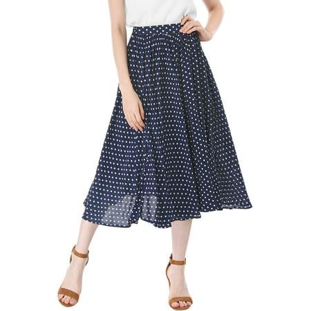 Women Polka Dots Elastic Waist Midi A Line Skirt White /S (US 6) (Polka Dot Skirt Halloween)