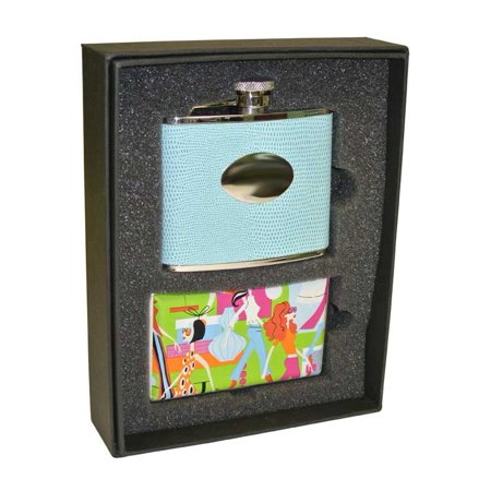 Deleted  Visol Stella Light Blue Lizard Pattern Uptown Flask And Go Go Cigarette Case Gift Set   4 Ounces