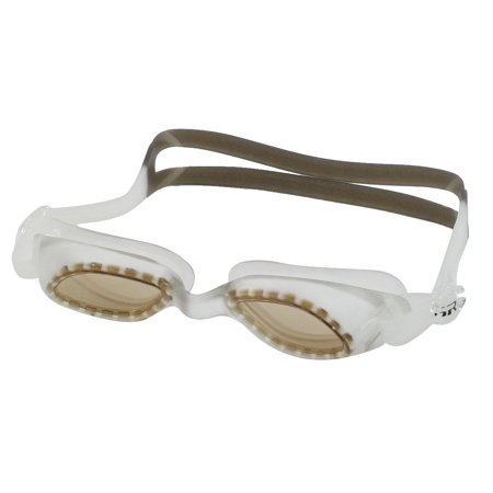 Unique Bargains Unique Bargains Adjustable Strap Plastic Frame Swimming Swim Goggles Light Brown w Pair Earplugs