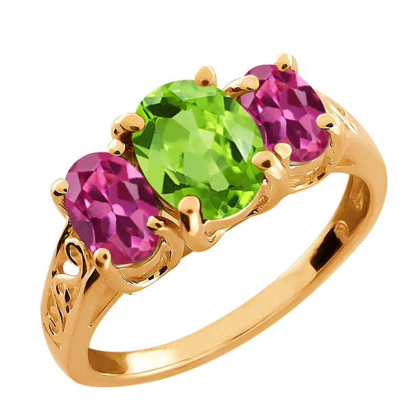 2.15 Ct Oval Green Peridot and Tourmaline Gold Plated Sterling Silver Ring