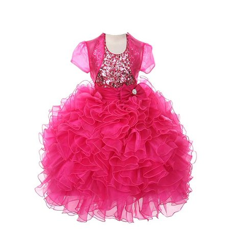 Dress Coat Girls (Rain Kids Girls 6 Fuchsia Sequin Halter Pageant Dress Sheer)