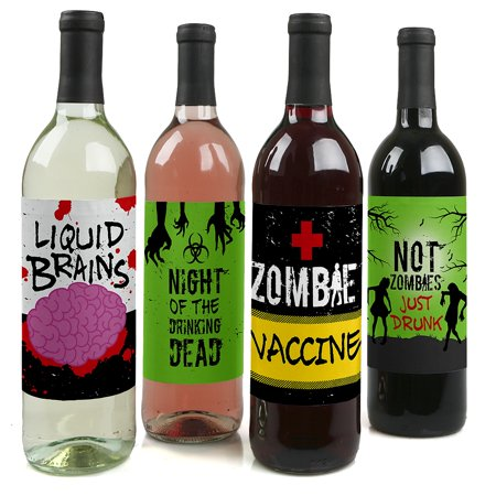 Zombie Zone - Halloween or Birthday Zombie Crawl Party Decorations for Women and Men - Wine Bottle Label Stickers - Set