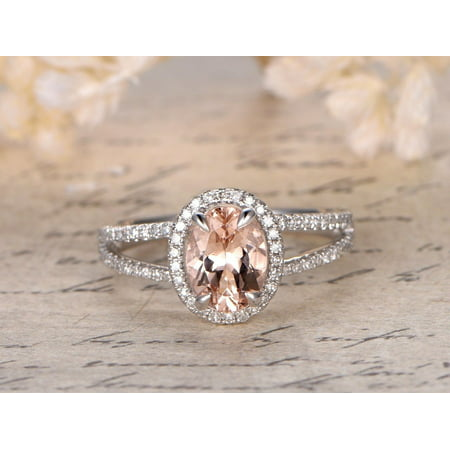 Art Deco 1.5 Carat Opal cut Real Morganite and Diamond Bridal Wedding Ring Set with Engagement Ring and Wedding Band in 18k Gold Over Silver