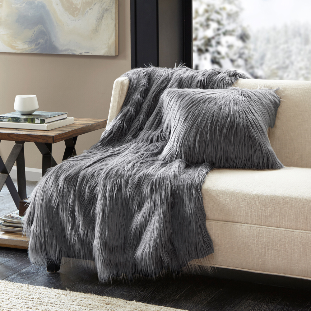 Home Essence Adelaide Luxury Faux Fur Throw to Faux Mink Reverse