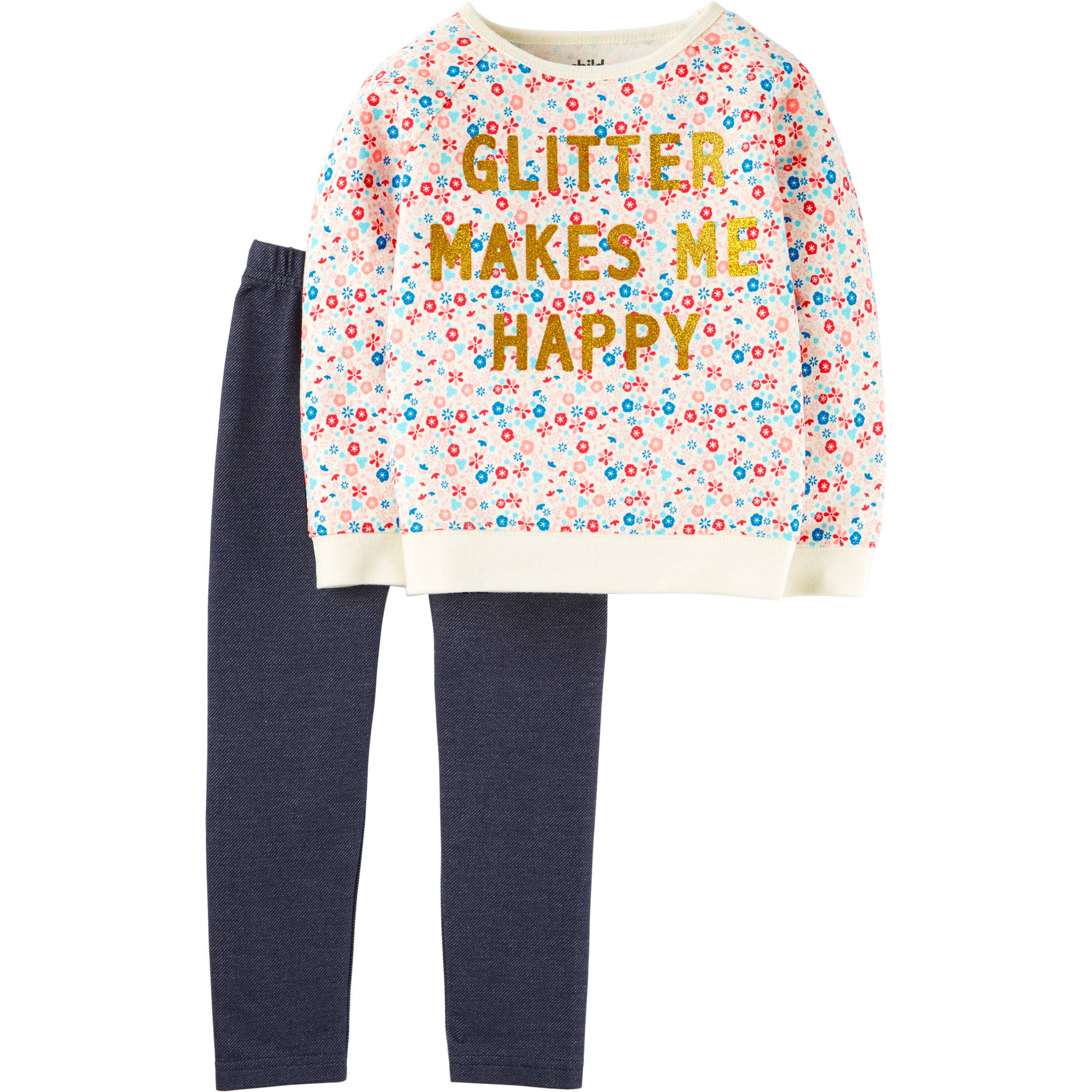 Child of Mine by Carter's Toddler Girl Long Sleeve Shirt and Pant Outfit Set