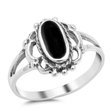 Sterling Silver Women's Simulated Black Onyx Wide Oval Ring (Sizes 5-10) (Ring Size 10) Bezel Set Oval Onyx Ring