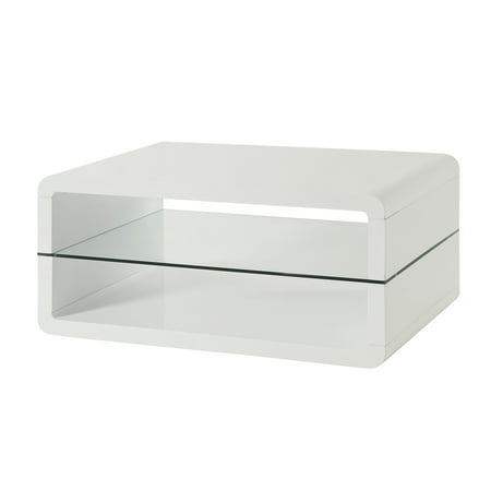 Simple Relax 1perfectchoice White Coffee Table With 2 Shelves