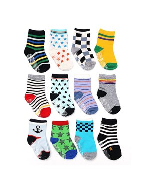 ShoppeWatch 12 Pairs Baby Toddler Socks with Grips Anti-Slip Non-Skid Grippers For Kids Infant Babies Boys 2T and 3T Walkers 12-24 and up to 36 Months