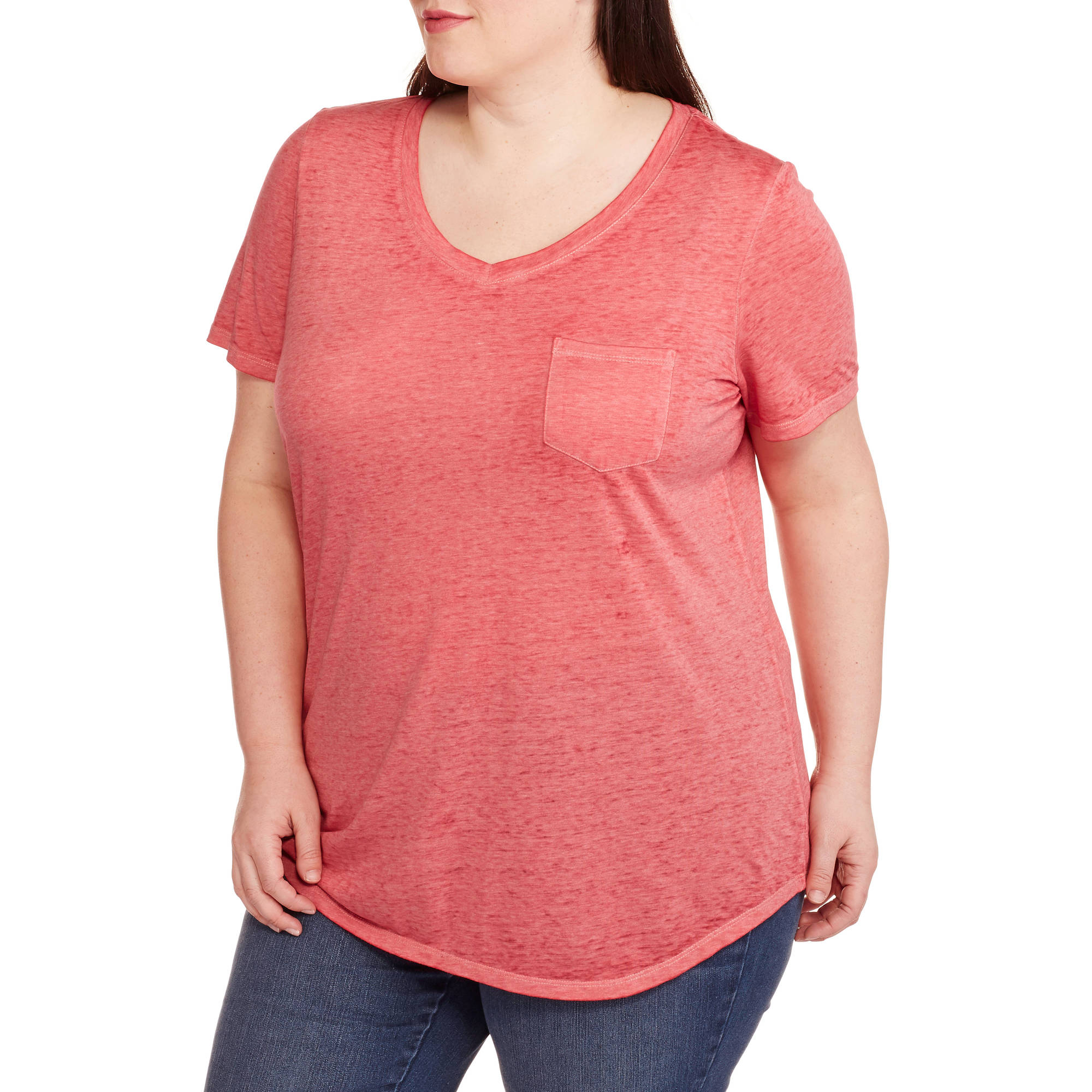 Faded Glory Women's Plus-Size Acid Wash Tee