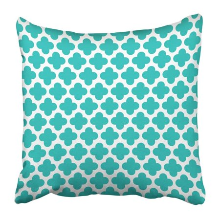 ARTJIA Blue Modern Turquoise Quatrefoil Pattern Green Diamond Morrocan Contemporary Clover Teal Morrocco Pillowcase Pillow Cushion Cover 20x20 inch