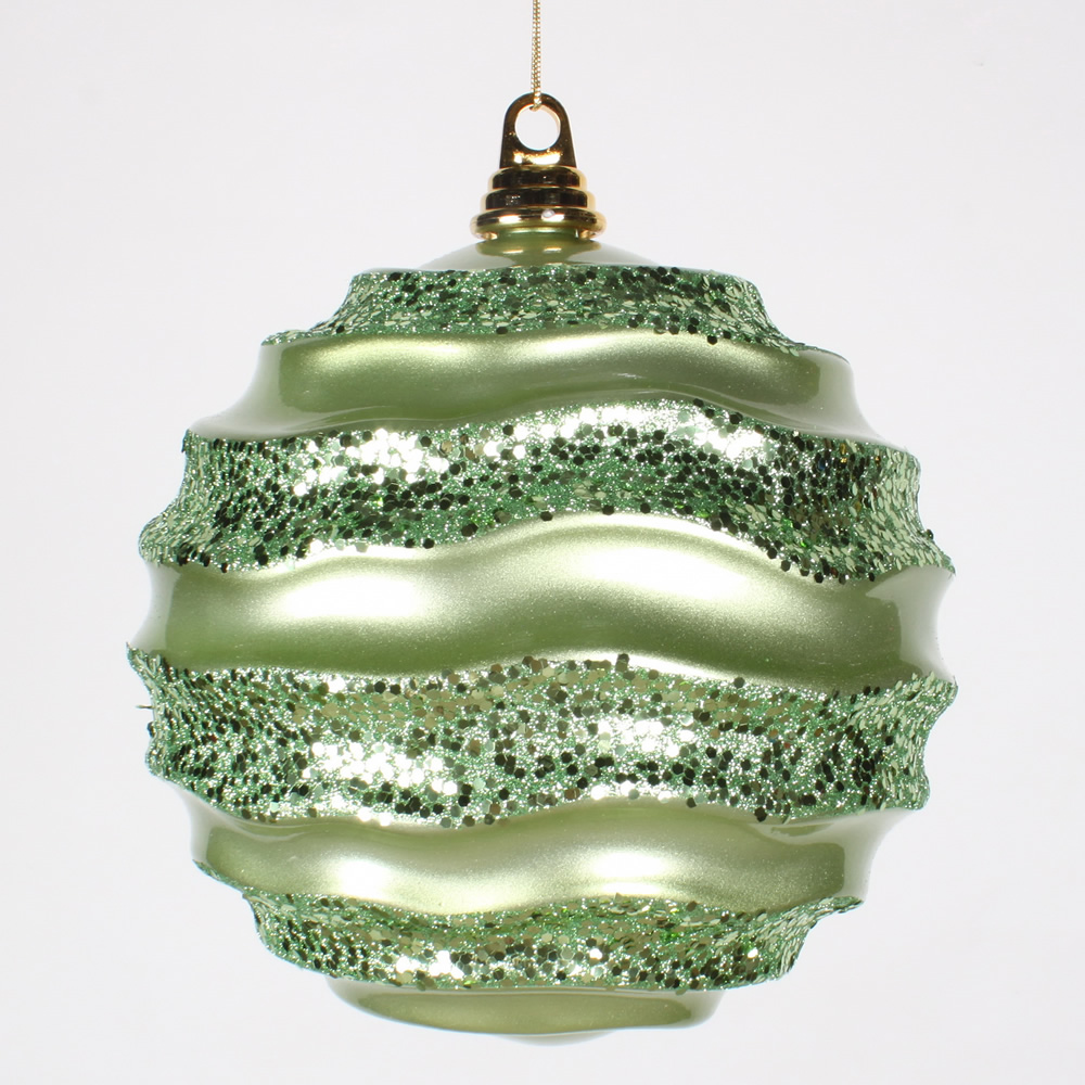 "Vickerman 8"" Celadon Green Candy Glitter Wave Ball"
