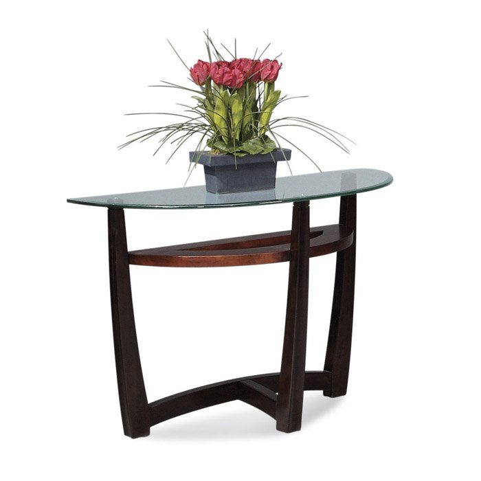 Bassett T1078400087 Elation HalfMoon Glass Top Console Table