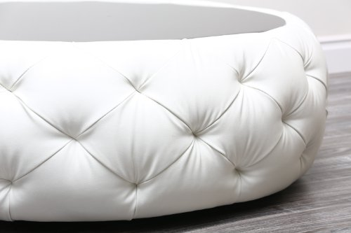 Abbyson Living Furrinno Round Leather Coffee Table