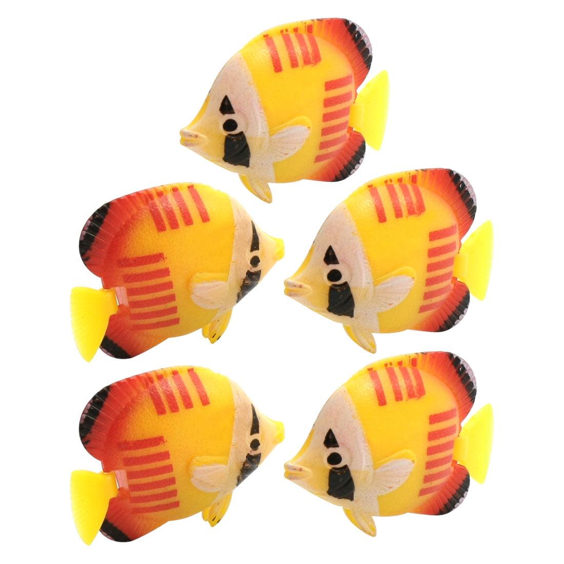 Unique Bargains 5 Pcs Aquarium Tanks Aquascaping Yellow Red Plastic Floating Fishes