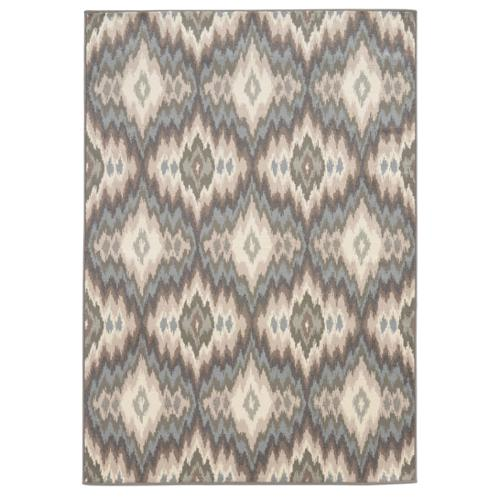 Style Haven Abstract Ikat Ivory/ Blue Area Rug (6'7 x 9'3)