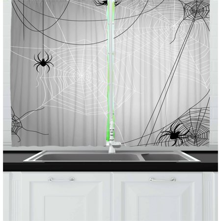 Spider Web Curtains 2 Panels Set, Spiders Hanging from Webs Halloween Inspired Design Dangerous Cartoon Icon, Window Drapes for Living Room Bedroom, 55W X 39L Inches, Grey Black White, by Ambesonne