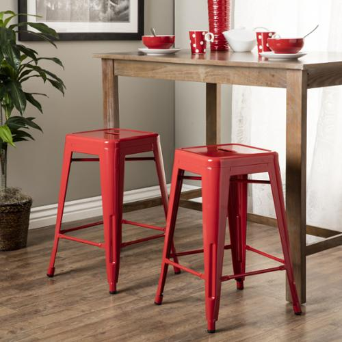 I Love Living Tabouret 24 Inch Red Metal Counter Stools