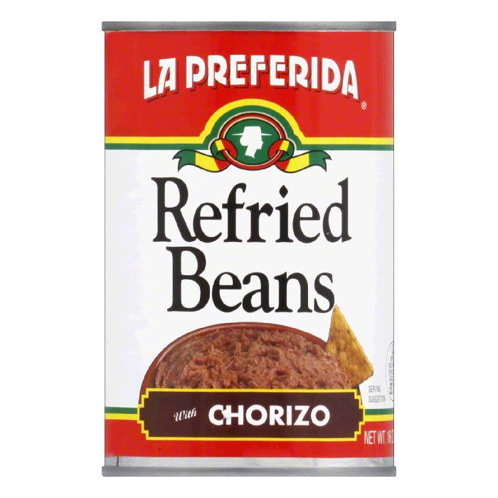 La Preferida Refried Beans Chorizo, 16 OZ (Pack of 12) by