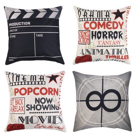 Uarter 4-Pack Decorative Throw Pillow Case Set Cotton Linen Throw Pillow Covers Cushion Cover with Invisible Zipper, Movie Theater Pattern, Black and White, 18''* 18'' (Decorative Pillows Theater)