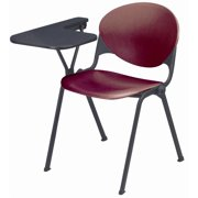 Polypropylene Seat & Back Stack Chair w P-Shaped Tablet - Set of 4 (Burgundy)
