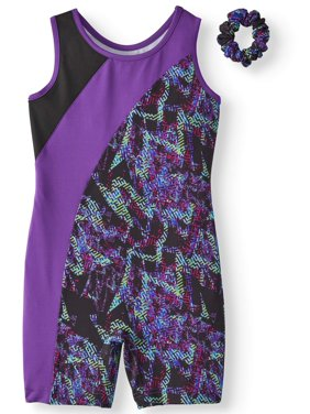 Danskin Now Girls Dance & Gymnastics Unitard Technicolor Pieced Racer Back (Little Girls & Big Girls)