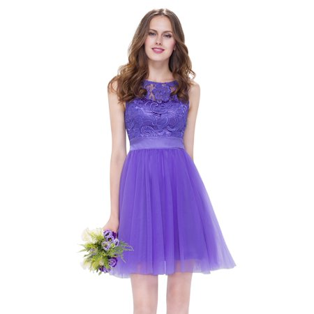 Ever-Pretty Women's Lace Wedding Bridesmaid Dresses Short Homecoming Party Dress 05496 Periwinkle US 16
