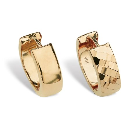 "Reversible Bright and Diamond-Cut Huggie-Hoop Earrings in 10k Gold (1/2"")"