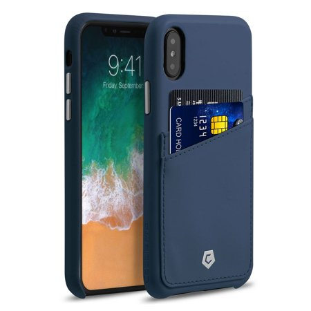 iPhone X Wallet Case with Mirror Screen Protector, by Cobble Pro Premium Credit Card Slot Holder Skin Leather Case Phone Back Cover for Apple iPhone X - Dark Blue (Bundle with Mirror Screen Protector)