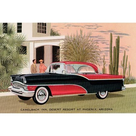 An advertising postcard to promote a new car the Packard Clipper  Drawn in front of the Camelback Inn desert resort at Phoenix Arizona to give a sense of style and luxury and attach that to the car Po