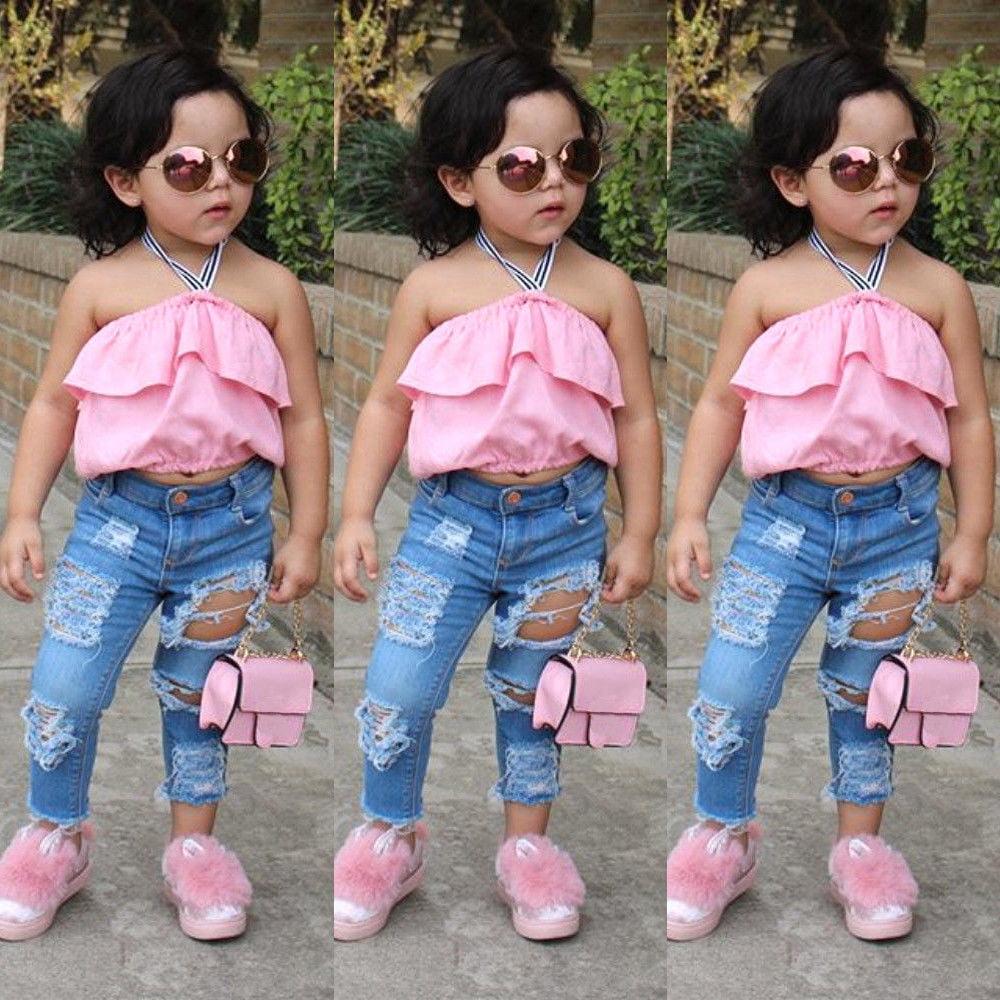 2PC Toddler Baby Girls Floral Crop Tops+Hole Denim Pants Jean Kids Clothes Sets
