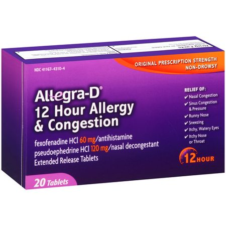 Image of Allegra Allergy Non-Drowsy 12-Hour Extended Release Tablets Antihistamine/Nasal Decongestant, 20 ct