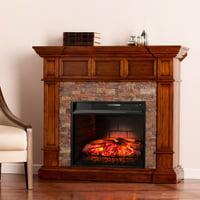 Ignatius Faux Stone Corner Infrared Fireplace, Buckeye Oak